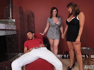 Ava Devine and choice milf are on high their knees pleasing a dick