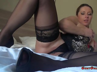Daria View with disfavour wears nice lingerie while exploring her curvy body