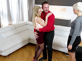 Steamy threesome with Italian plus Hungarian blondes