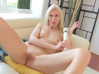 Blonde MILF Angelina makes herself cum with a vibrator on the top of will not hear of clit