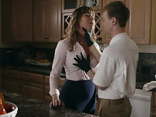 Big-busted whorable housewife Dana DeArmond rides dick and gets poked mish